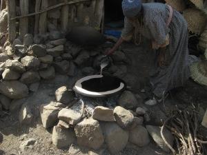 Pouring the injera batter.  Credit: Kimberley (c) 2012