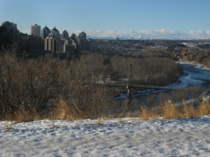 City view with snow-capped Rocky Mountains. Photo by Kimberley (c)2012
