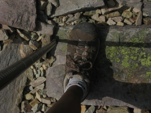 My leg, hiking shoe and walking pole. Photo by Kimberley (c)2013