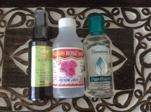 Vetivert hydrostatic, Pushkar rose water and an Ayurvedic hand sanitizer from Himilaya, an Indian-based company. Photo by Kimberley (c)2016