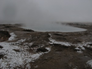 Geyser heat and autumn snow Photo by Kimberley (c)2016